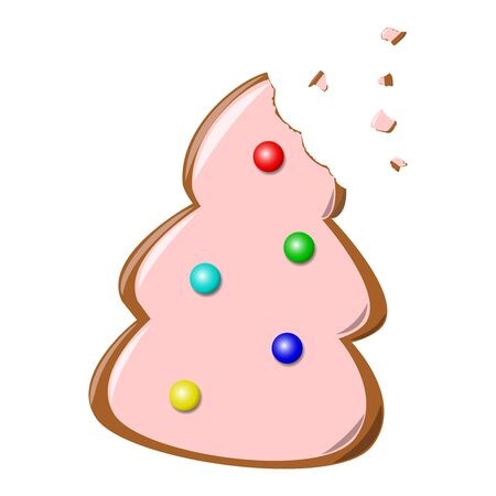 Cookie or Biscuit, In the Form of Christmas Tree with Decorations from Multicolored Balls. Vector Illustration. Vettoriali