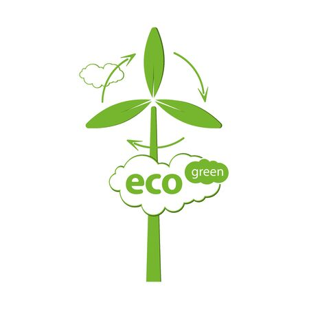 Eco Friendly and Green Tehnology. For Logo, Label or Poster. Vector Illustration. Illusztráció