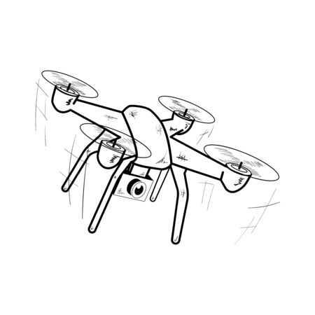Drone. Black and white icon. Vector illustration. Ilustração