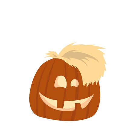 Halloween Pumpkin Funny and Cute. Vector Illustration.