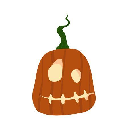 Halloween Pumpkin Funny and Cute. Vector Illustration.