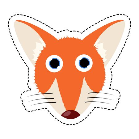 Fox colorful flat cute Mask. Vector Illustration.