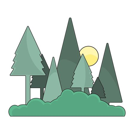 Forest with Sun Icon Flat Design. Illustration