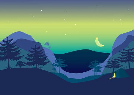 Mountain Night minimalist colorful abstract Landscape. Vector Illustration.