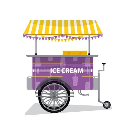 Ice Cream Cart with Text - Ice Cream. Flat Design. For Summer Time Sale