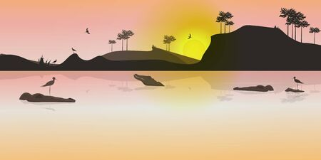 Wild landscape at sunset with crocodiles and birds. Flat design. Vector Illustration.
