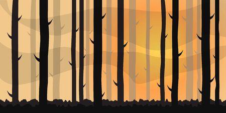 Landscape, Forest in the Morning or Evening. Vector Illustration.