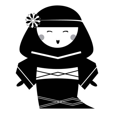 Japan Doll with Traditional Hairstyle in National Dress Kimono. Vector Illustration. Vettoriali
