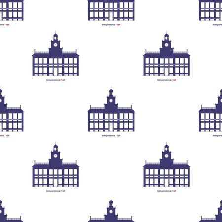 Independence Hall Seamless Pattern Background. Vector Illustration.