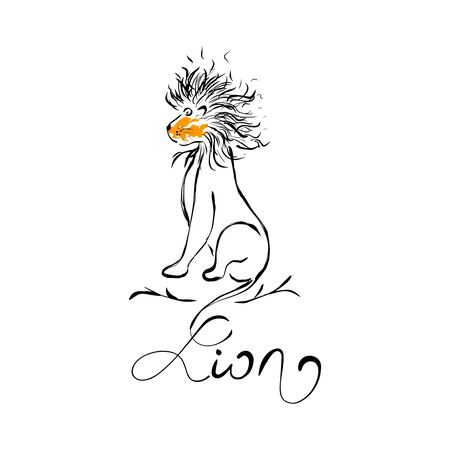 Lion. Hand Drawn Icon. Boho Style. Vector Illustration.