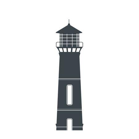 Lighthouse. One of the symbols of oceaon, sea and safety. Flat. Vector illustration. Vektoros illusztráció