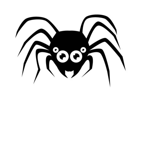 Spider black Silhouette on white background. Vector Illustration. Ilustração