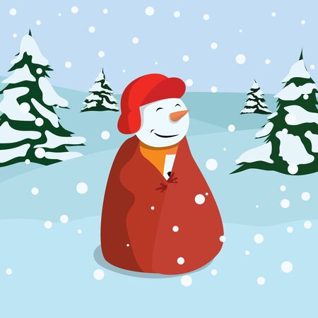 Snowman, One of the Christmas Symbol in the Winter Forest Landscape during Snow, Vector Illustration.