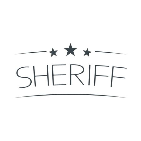 Sheriffs Star Text isolated on white background. Vector Illustration.