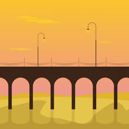 Pier with Lanterns. Summer Sunset. Flat Design. For Summer Time Flyer, Card, Sticker, Poster and Other. For Web and Print. Vector Illustration.