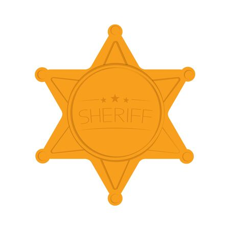 Sheriffs Star Isolated on White Background. Vector Illustration.