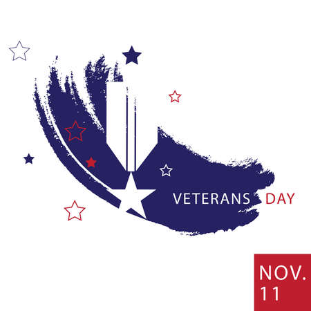 USA Veterans Day minimalist abstract style Poster. Vector Illustration. Ilustracja