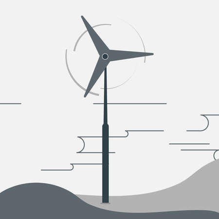 Windmill. Flat Design. Ecology Concept for Earth Hour, Earth Day, Ocean Day and other ECO dates. Vector Illustration.