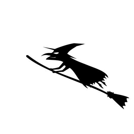 Witch black Silhouette. One of the Halloween symbols. Vector illustration.