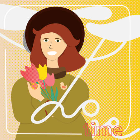 Young Woman with Flowers. Spring Card. Vector Illustration.