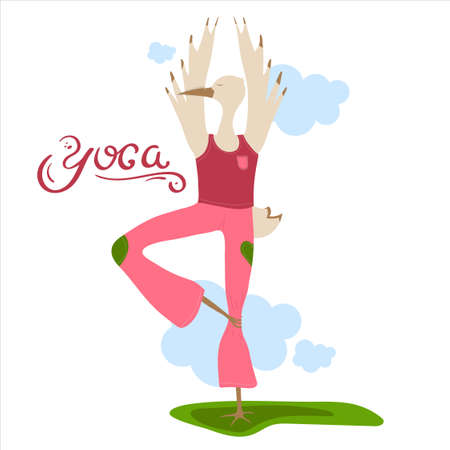 Cute Cartoon Character. Yoga. Card or Poster. For Print and Web.Vector Illustration. Ilustracja