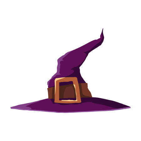 Witch magic cap. One of the Halloween symbols. Vector illustration.