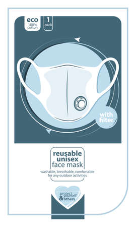Medical mask label template for packaging. Virus, flu, Coronavirus epidemia, COVID 19 pandemic, bacteria, infection and pneumonia protection. Vector illustration.