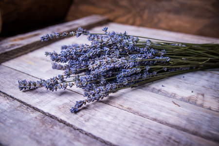 bouquet of lavender close-up on wooden surface