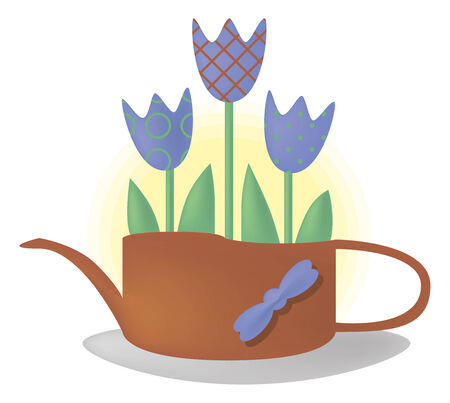 garden stuff: merry motley picture can be used for congratulations with happy birthday. It shows  blossoming. flower pot under the form of the kettle and may be associated with a drink.