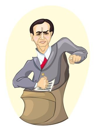 incriminate: Dark-haired grumpy man attorney