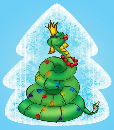 Green Snake is a Christmas tree and dress up as a garland. Tiff image format presented posloynikom character to easily separated from the background. photo