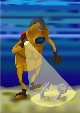 knows: Professional diver knows the depths of the ocean, full of astonishing secrets and adventures. He had the good fortune she found an anchor. Can be used to illustrate the diver of the day