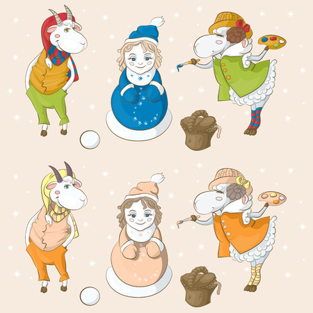 proposed: Goat and sheep - the symbols of the coming year. Goat and sheep fashioned snow Snow Maiden, was decorated her and she came to life. Vector can be used as an subject and each character can be used individually. proposed two color options