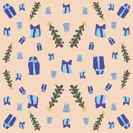 New packaging for gifts in the style of childrens drawings of the primitive is a seamless pattern Vector