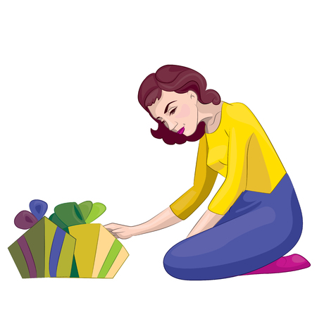suspicious: image is composed of several layers, so that the woman can easily rip it out of the overall picture, as well as gifts. You can use postcards as pozravitelnoy Illustration