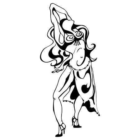 kifejező: Kecses nő érzelmi dance, kitalálni feszült és kifejező