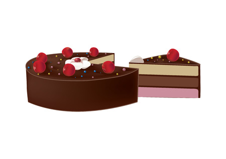 puff pastry: delicious chocolate cake with cherries with a piece cut off Illustration