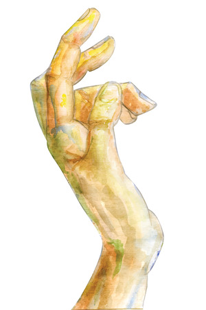 lend a hand: watercolor image of a hand stretching upward, can be used as a metaphor, concept. Image is isolated.