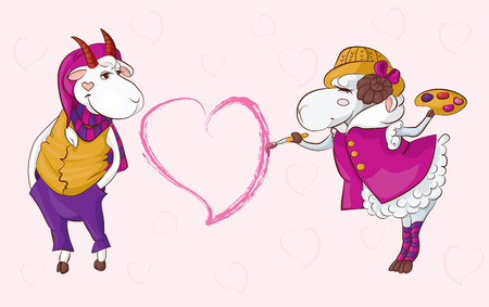 interracial love: Postcard to the Valentines Day can be illustrated interracial love for example, two species of domestic animals