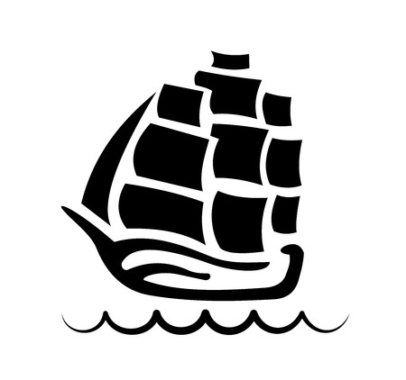 silhouette of three-masted sailing ship at the crest of a wave Illustration