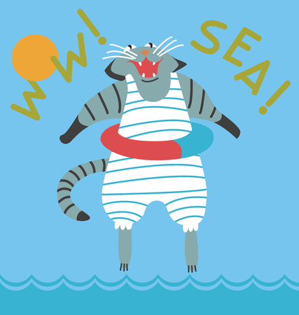 and marine life: Image nautical theme: Cat goes to bathe in the sea, comical picture: whether the cat cries of happiness, or is afraid of water.