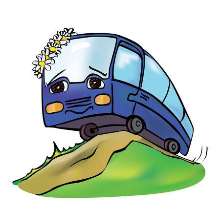 anthropomorphous: cheerful multicolored bus travels clear spring day