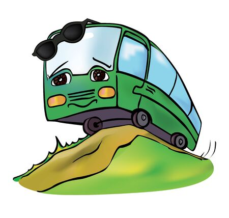anthropomorphous: cheerful multicolored bus travels clear summer day Illustration
