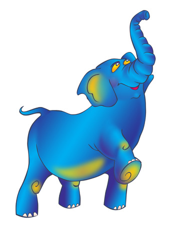 proudly: Triumphantly striding proudly blue elephant with a raised trunk
