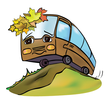 anthropomorphous: cheerful multicolored bus travels autumn clear day