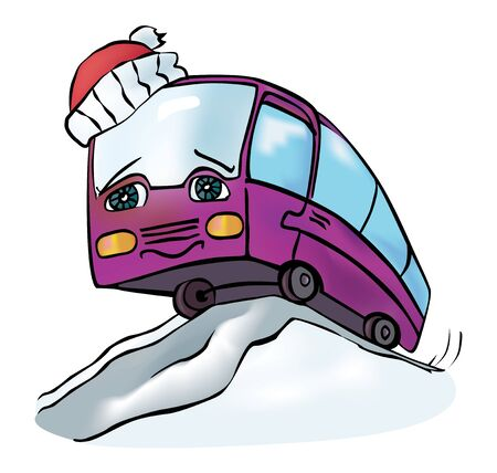 anthropomorphous: cheerful multicolored bus travels winter clear day