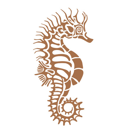 stencil art: seahorse, made in one color under the stencil can decorate your plaster imprint of antiquity Illustration