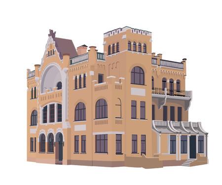 Essentuki, sanatorium named Pavlov - a former summer residence of Captain Zimin, a stylized image Illustration