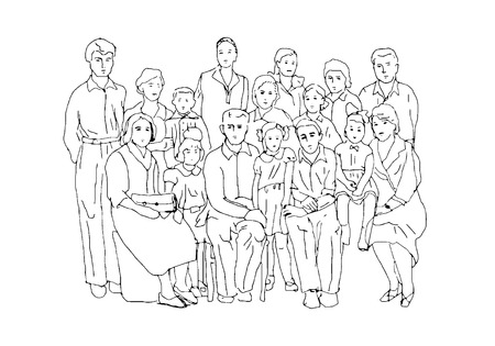 old photographs: Sketch in the style of old photographs illustrating family life and family values of the last century