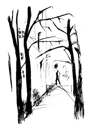 drawing trees: city street in autumn, the distance a human figure